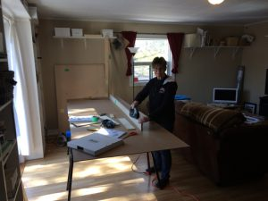 Dianne working on diy murphy bed panels