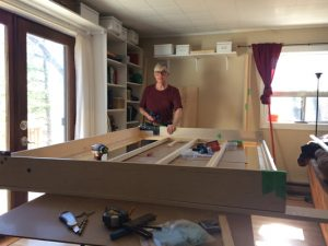 Paul assembling the wall bed frame