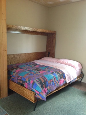 Murphy bed with blankets