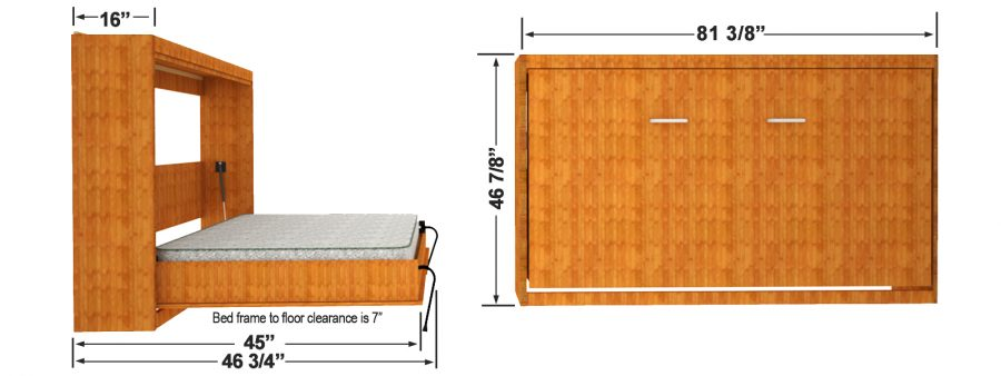 Single wall bed finished dimensions